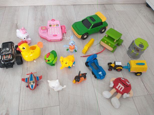 Mega zestaw zabawek kasa fiskalna nakręcane autka traktorki przyczepa