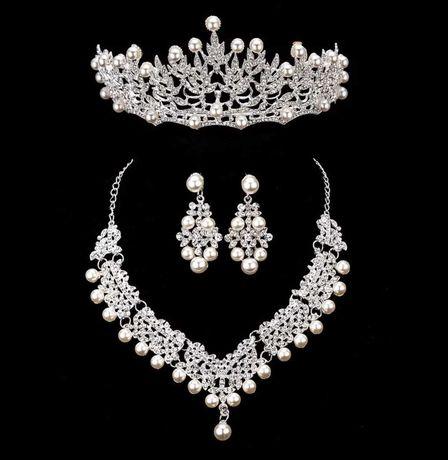 Nowy komplet tiara/diadem/korona naszyjnik i kolczyki ślub