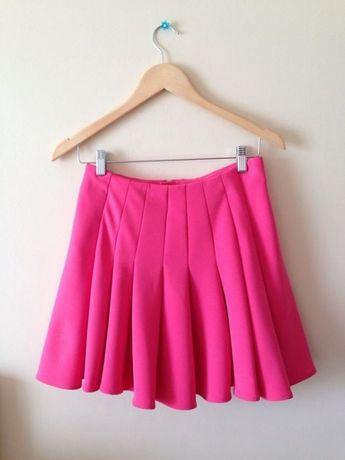h&m spódnica mini r. 34 róż fuksja glamour plisowana kobieca sexy hm
