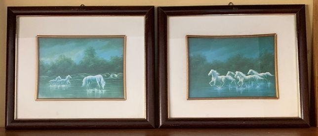 Quadros Decorativos (2 com imagem de Cavalos +1 com imagem de Paisagem