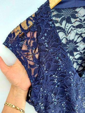 Nowa długa sukienka z koronki,cekiny