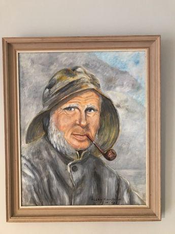 Obraz Mężczyzna z fajką 45x53