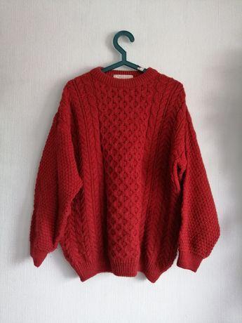 Sweter vintage oryginalny Szkocja czysta wełna ciepły gruby warkocze