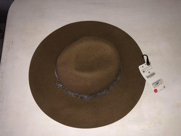 ZARA - nowy, wełniany kapelusz z szerokim rondem, rozmiar M