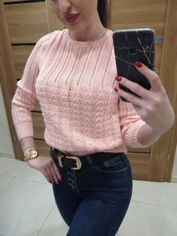 Piękny pastelowy jasnoróżowy sweterek ciekawy splot ażurkowy boho S/M