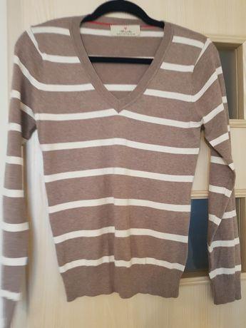 Sweter, w paski, roz M/L