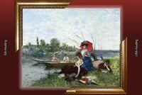 Francisco Miralles_Boating, quadro tela + placa ID