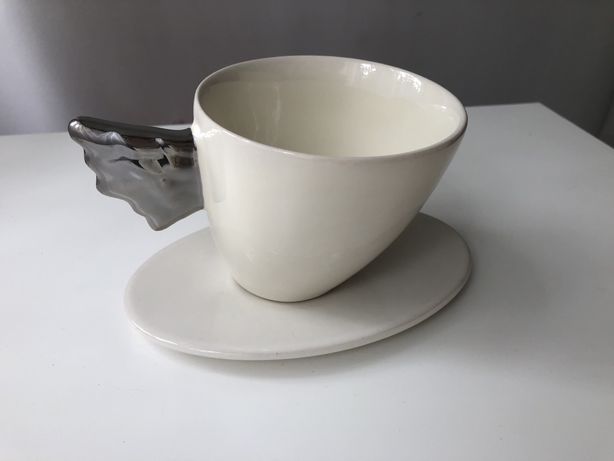 Zestaw do kawy platyna skrzdlo piekny Two Peole