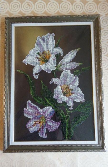 Картина цветы вышитая бисер ручная работа Киев - изображение 1