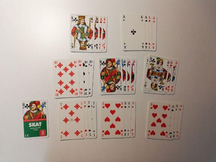 Karty do gry skat od A do 7, nowe