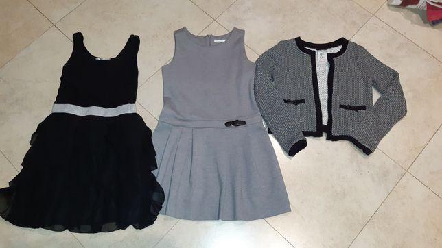 Szara sukienka coolclub i bolerko Reserved roz 134/140