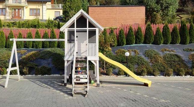 Drewniany domek ogrodowy dla dzieci + ślizg