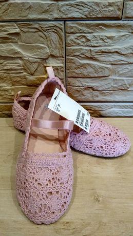 H&M balerinki koronkowe różowe gumka 33 21cm