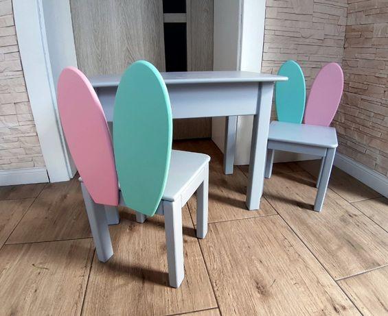 Stolik i dwa krzesełka drewniane dla dziecka 92-116