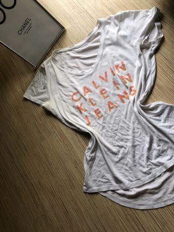 Bluzka T-shirt calvin klein S M biała z napisami