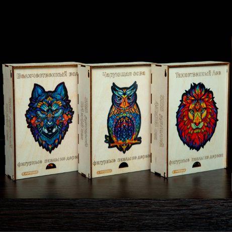 Деревянные пазлы с элементами животных и растений, в подарочной коробк