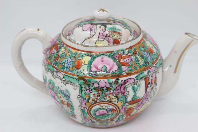 Bule de Chá Porcelana Chinesa Mandarim Rose Medallion com Figuras XX
