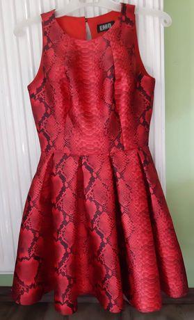 Sukienka wzór węża emo rozkloszowana 34