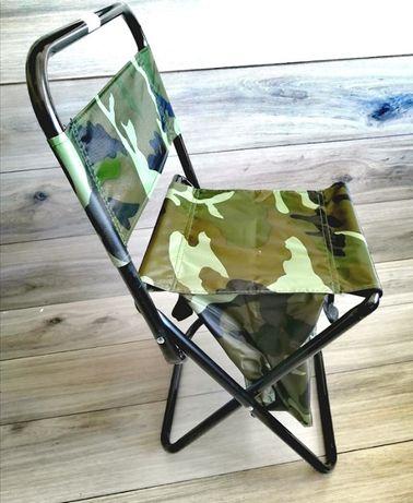 Krzesło wędkarskie SKŁADANE moro z oparciem TORBA