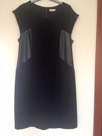 Sukienka ze wstawkami z ekoskóry, rozmiar 46