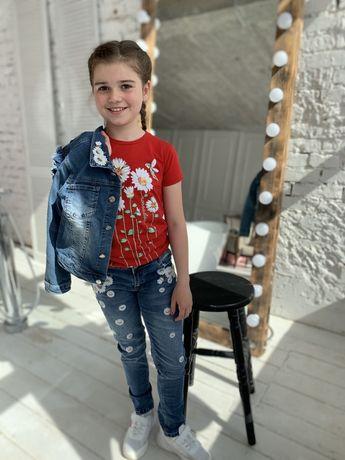 Джинсовый костюм куртка+джинсы