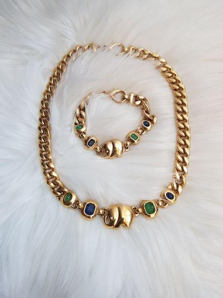 Złoty Zestaw biżuterii bransoletka łańcuszek