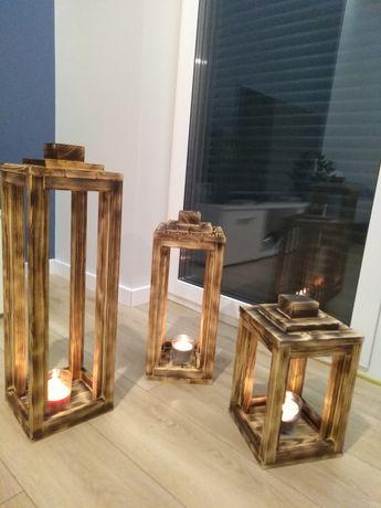 Lampion drewniany Zestaw Lampiony drewniane