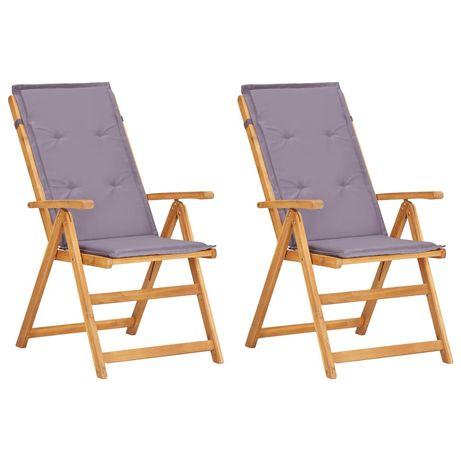 vidaXL Cadeiras jardim reclináveis 2pcs madeira acácia maciça castanho 45936