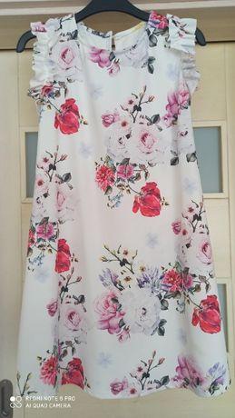 sukienka trapezowa kwiaty S/M jak nowa na wesele chrzciny