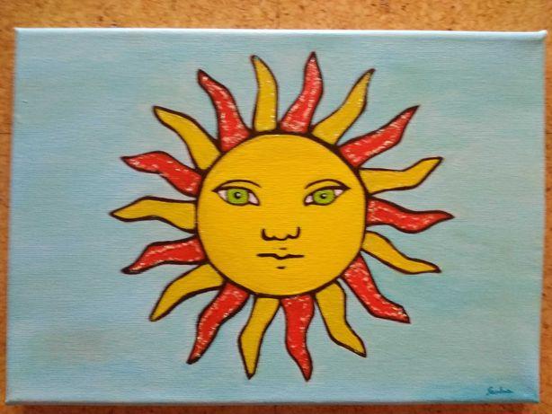 Tela com pintura em acrílico Sol