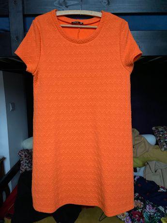Sukienka trapez pomarańczowa gruba