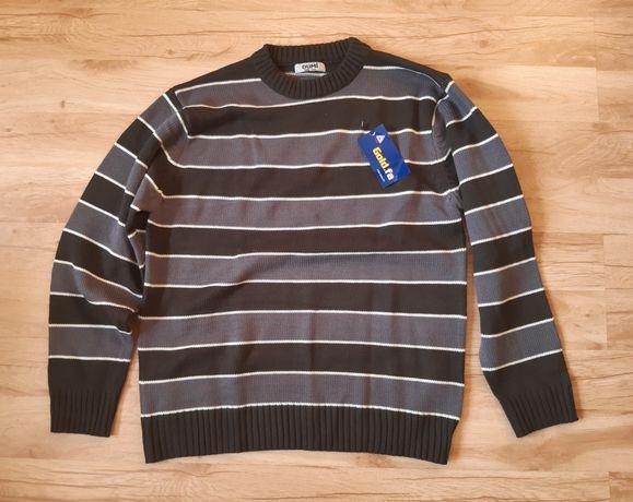 Sweter w paski szaro-khaki