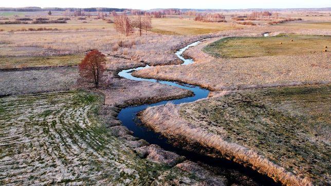 Działka 1,2 ha z własną linią brzegową rzeki Bogusze