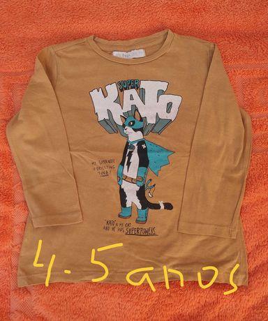 T-shirts, casaco e colete para menino 4-5 anos