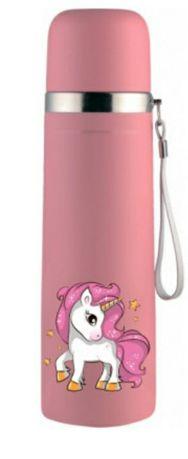 Unicorn термос с единорожкой розовый с ремешком