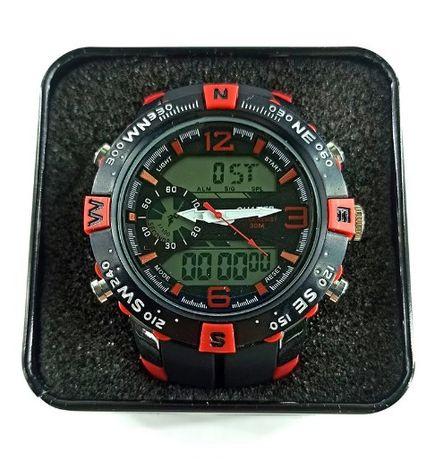 Спортивные часы QUAMER силиконовый ремешок(Черный / Красный)