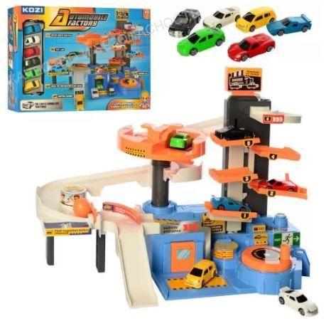 Игрушки, гараж многоуровневый + 6 авто