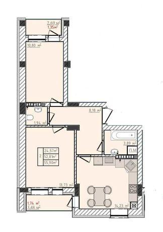 2-кім квартира + комірка в новобудові ЖК Сонячні пагорби, м.Пустомити