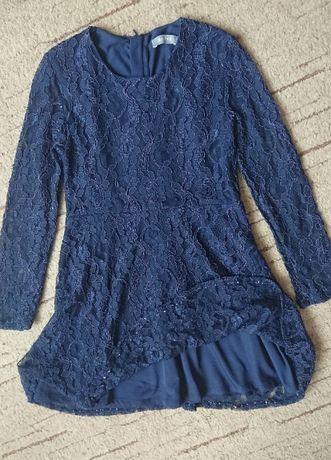 Нарядное платье с кружевом Ahlens (Швеция), темно-синее 9лет (р.134