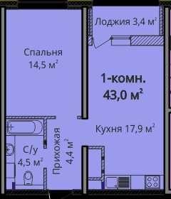 Продам 1 комнатную квартиру в ЖК Альтаир 3 площадь 43 кв.м. Будова