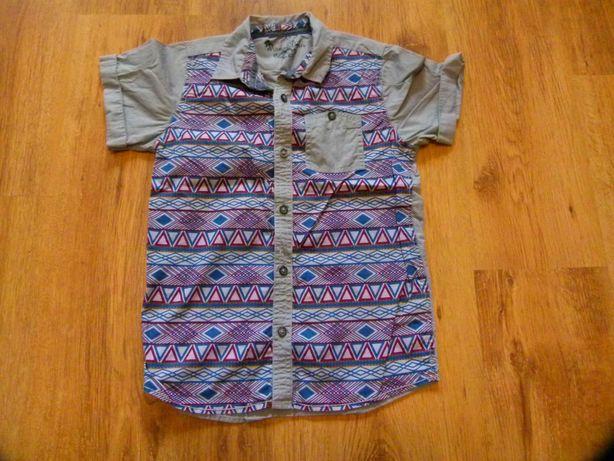 rozm. 134 koszula szara krótki rękaw wzorki chłopięca