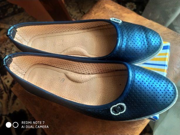 Туфли синие, балетки