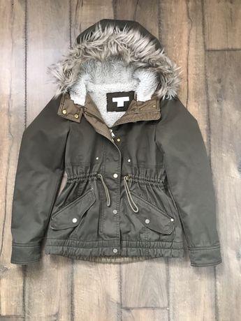 H&M kurtka parka khaki dla dziewczynki 146