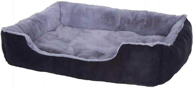 Bardzo duże i miękkie legowisko dla psa 90x70cm czarno-szare łóżko