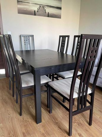Stół rozkładany IKEA BJURSTA venge + 6 kszeseł