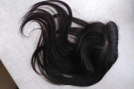Теменная накладка волосы на заколках. Парик. Шиньон. Система волос