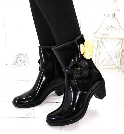 Женские модельные резиновые сапоги, ботинки на молнии