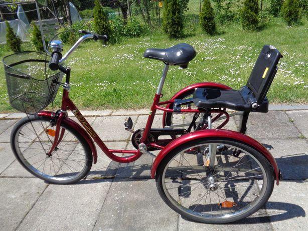 Rower trójkołowy rehabilitacyjny z fotelikiem dla dziecka