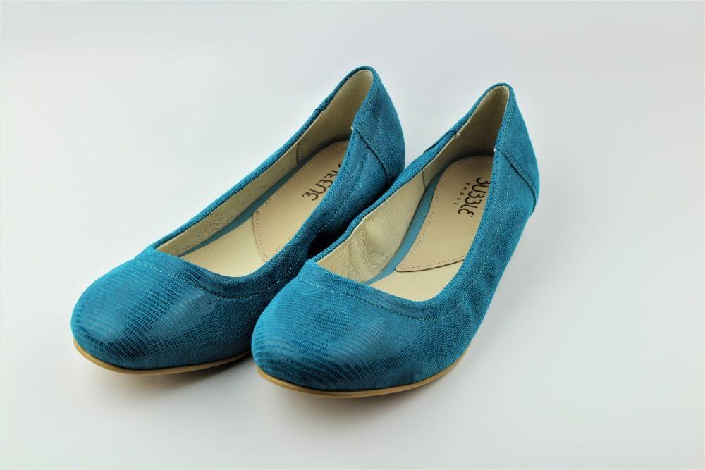 Buty baleriny skórzane Bubble Shoes r.37 turkus Warszawa - image 1