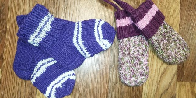 Варежки Деми зима вязанные носки